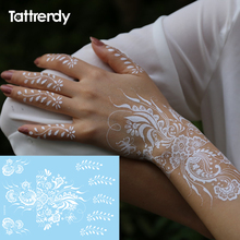 1sheet White Lace Henna Flash Tattoo Butterfly Feather Fake Temporary Tattoos Sticker Arabic Indian Style Body Art S1013