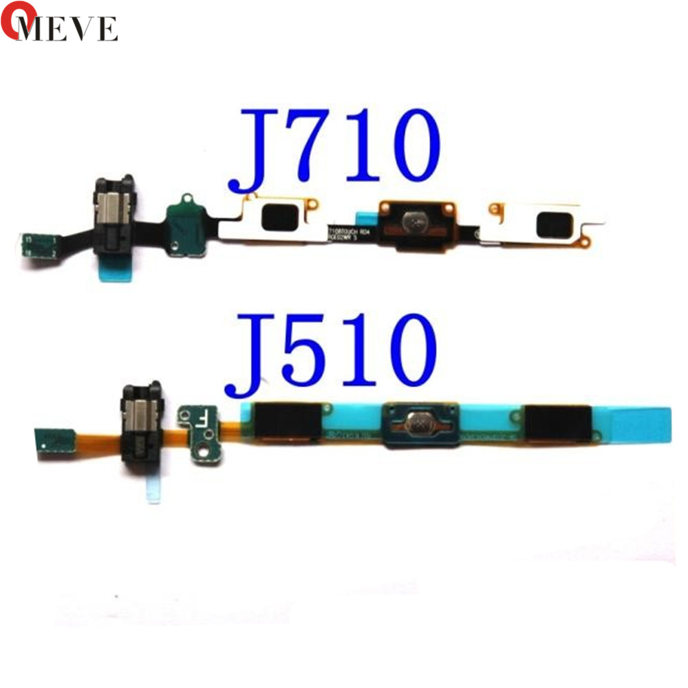 2pcs/lot Home Button Flex + Earphone Jack Flex Cable Ribbon for Samsung Galaxy J5 J510 J7 J710 2016 versions image