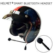 Motorcycle Open Face Retro Helmet Motorbike 3/4 Curiser Chopper Vintage Helmets Bluetooth Headset Built-In