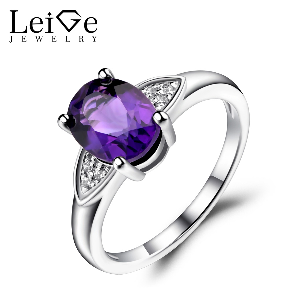 Leige Jewelry Natural Amethyst Ring Purple Gemstone Oval Shaped Wedding Engagement Rings for Women Sterling Silver 925 Jewelry leige jewelry oval shaped smoky quartz ring 925 sterling silver wedding engagement halo rings for women oval gemstone jewelry