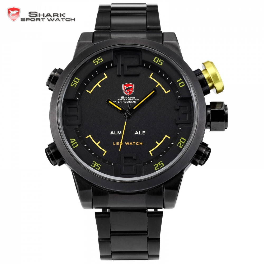 Luxury SHARK Sport Watch LED Display Stainless Steel Black Yellow Date Day Alarm Quartz Tag Men Wristwatch Digital Clock / SH107 top brand luxury digital led analog date alarm stainless steel white dial wrist shark sport watch quartz men for gift sh004