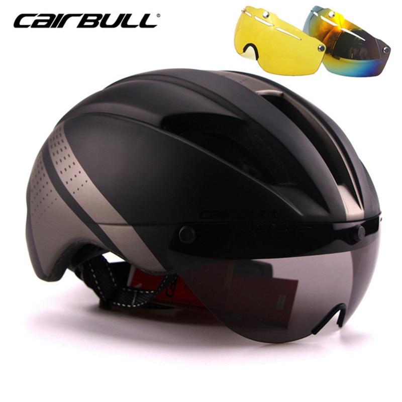 CAIRBULL Magnetic Goggles Cycling Helmet MTB Road Racing Bike Helmet Removable Lens Integrated Molded Bicycle Helmet