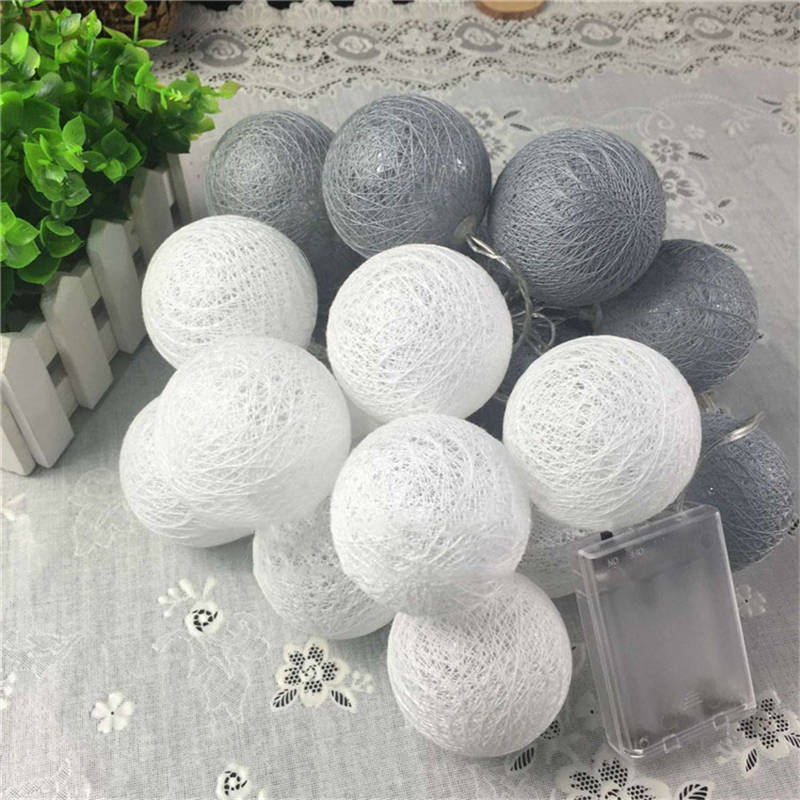 Mising 3.2M 20 LED Grey Cotton Ball String Lights 3*AA Battery LED Outdoor Fairy Lights for Festival Christmas Party Decoration