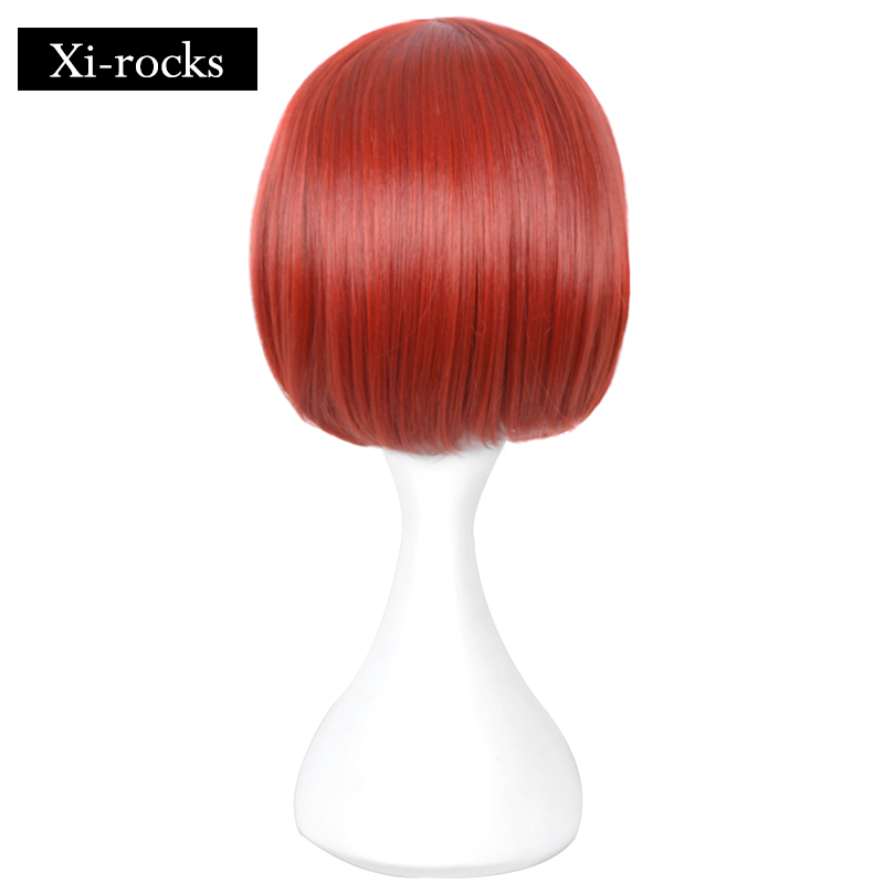 3021 Xi rocks 11inch Halloween synthetic free cap Danganronpa cosplay Comic con Girl Koizumi Mahiru red short hair lolita wig