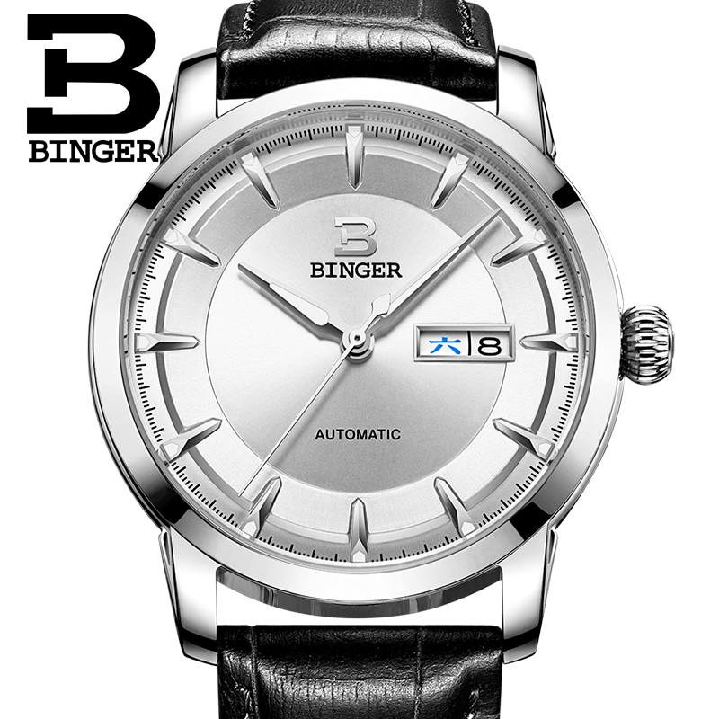 Switzerland Men Watch Automatic Mechanical Binger Luxury Brand Men Watches Stainless Steel Reloj Hombre Sapphire Wrist B-5067M original binger mans automatic mechanical wrist watch date display watch self wind steel with gold wheel watches new luxury