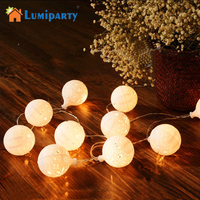 LumiParty 20LED Fairy White Snow Ball Battery Operated LED String Lights Decoration For Christmas Garland New Year