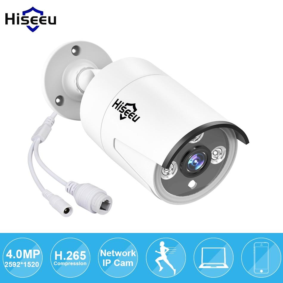 Hiseeu H.265 de Sécurité IP Caméra HI3516D + OV4689 4MP Extérieure Étanche CCTV Caméra P2P Détection de Mouvement Alerte Email ONVIF 48 V PoE