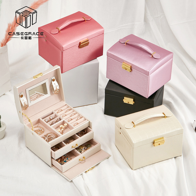 Image 5 - Large Jewelry Packaging Boxes Armoire Dressing Chest with Clasps 