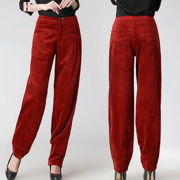 Middle-Aged Women Autumn Winter Corduroy   Pants   High Waist   Wide     Leg     Pants   Slacks Trousers Corduroy Trousers Big Yards