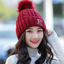 Winter Pom ball hat wool cap Kitted Thicken embroidery NYC Womens hats