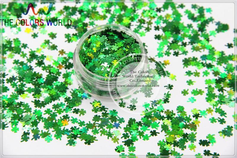 holografico cor verde quatro folha trevo shamrock forma glitter para a arte do prego e decoracao