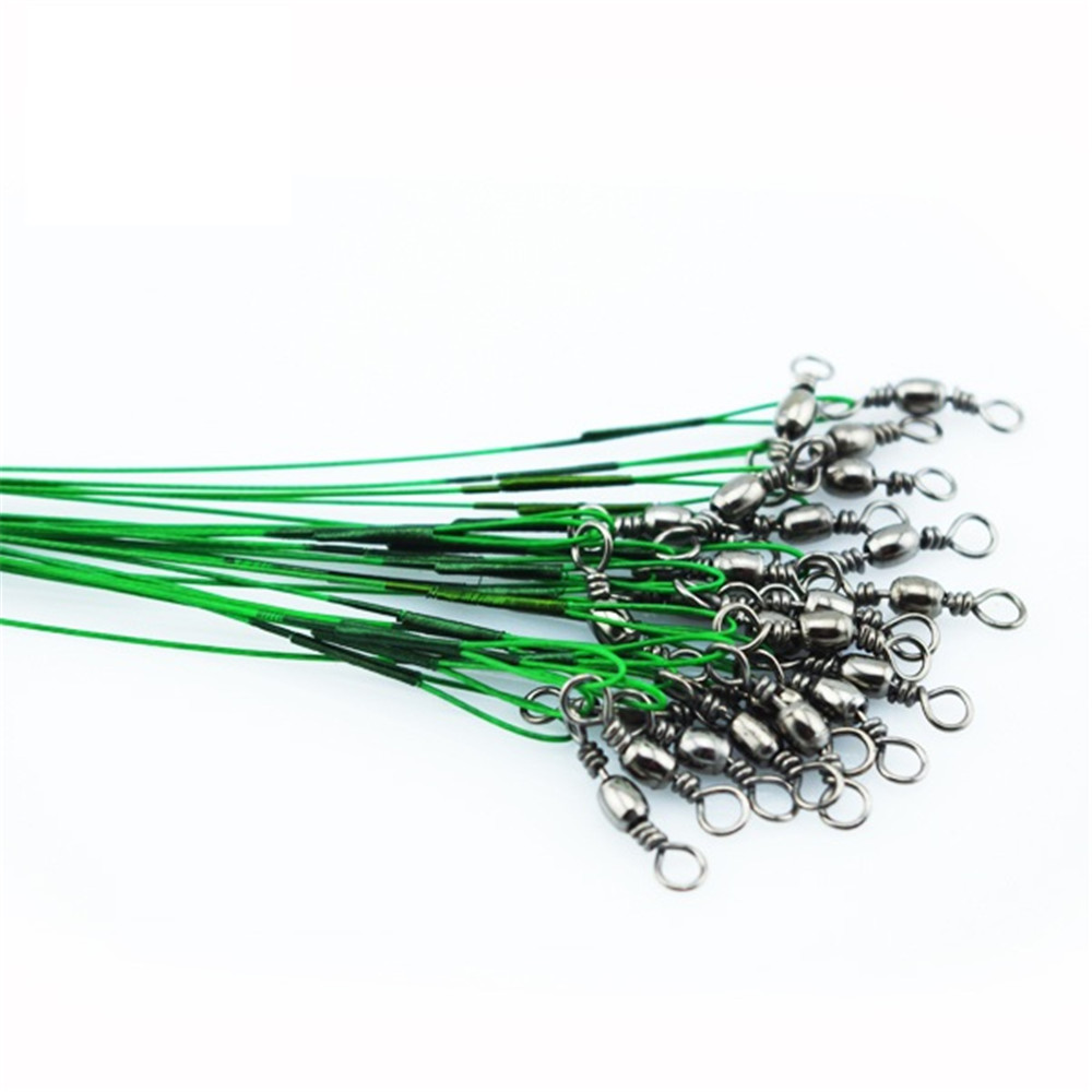 Cheaper 72 PCS/Lot Fishing Trace <font><b>Lure</b></font> Leader Wire Spinner Fish Swivel Interlock Snap 15cm 25cm 30cm