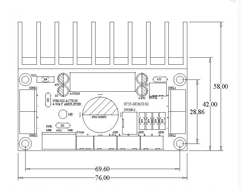 MOSFET TDA7850 4 Channels Car Audio Power Amplifier 4X50W Speaker Pre-AMP HI-FI