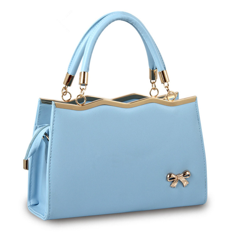 9569c6af6c High Quality Sky Blue PU Office Lady Shoulder Bag Casual Women Handbag  Crossbody Clutch Wave Lovely Bownot Zipper-in Top-Handle Bags from Luggage    Bags on ...