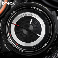 Break Black Camera Series Men Women Luxury Fashion Casual Stainless Steel Band Unique Sport Quartz Watches Waterproof for Men