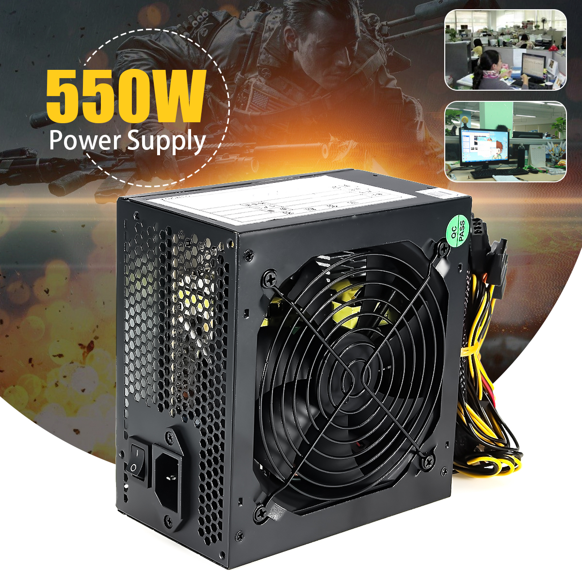 550W Peak- PC PSU Power Supply Black Gaming 120mm Fan Blue LED 20/24pin 12V ATX High Quality Computer Power Supply For BTC