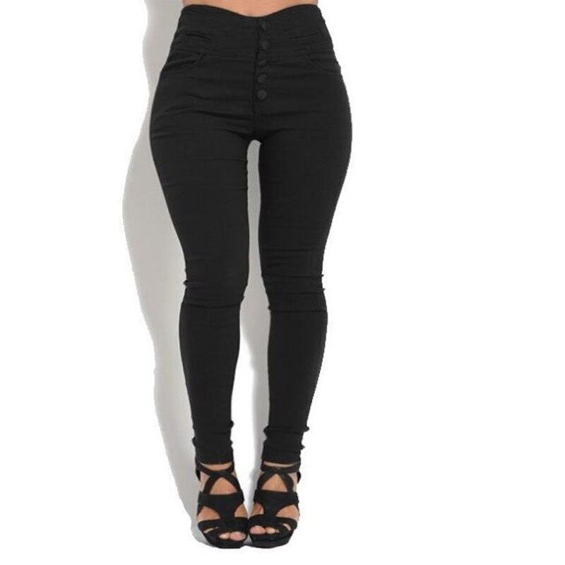Babbytoro Women Pants 2019 Plus Size Cotton Line Button Stretch High Waist Slim Leggings Pants Black Green Brown 5XL 4XL Femino