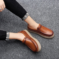 Men Genuine Leather Dress Shoes Business Sneakers Retro Shoes Autumn Male Moccasins Driving Shoes Plus Size Footwear Christmas
