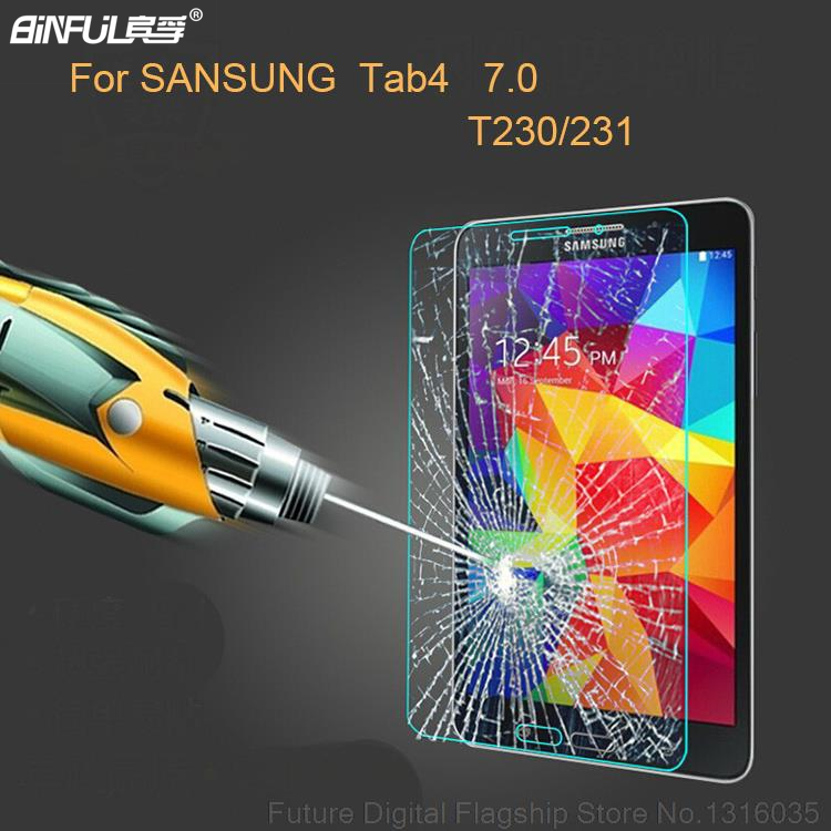 BINFUL 0.3mm 9H Tempered Glass Screen Protector For Samsung Galaxy Tab 4 7.0 T230 T231 T235 T237P Protective Film For  VE T239C