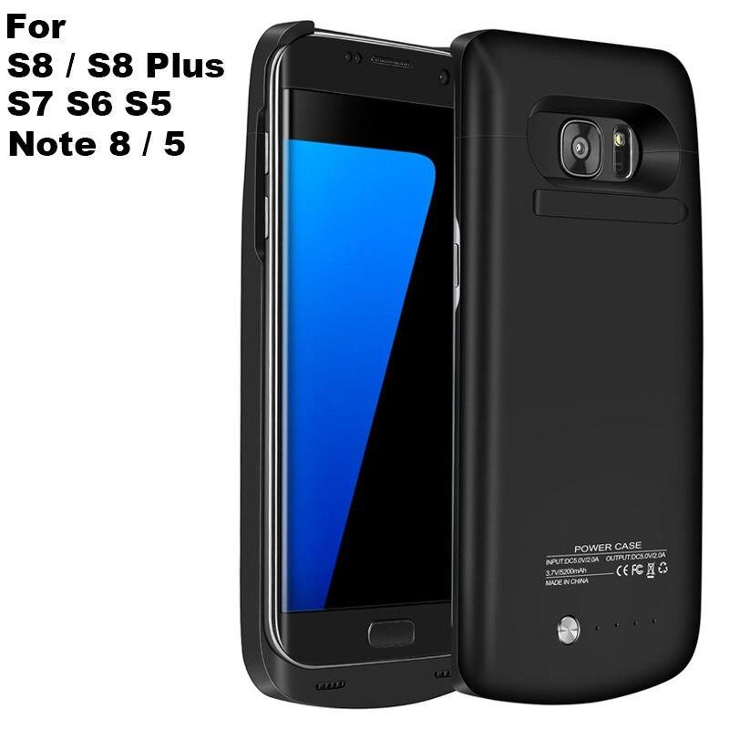 Pour Samsung Note 8 S8 Plus affaire de La Banque D'alimentation 5000 mAh Externe Chargeur de batterie Pour Galaxy S6 S7 S5 4200 mAh De Secours Chargeur Couverture