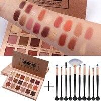 Professional 18 Rose Gold Eyeshadow with Eye Shadow Brush Fashion Shimmer Glitter Powder Matt Eyeshadow Palette Makeup Brush Set Eye