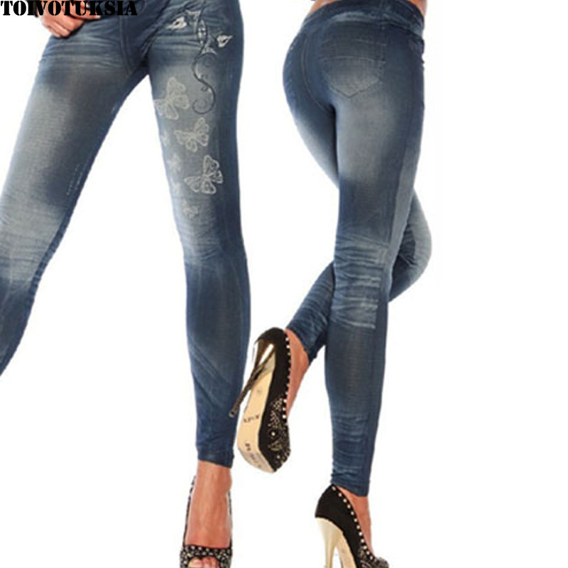 TOIVOTUKSIA Butterfly Jeggings Seamless Jeans Look Women Legging Casual New Fashion Trend Solid Leggings