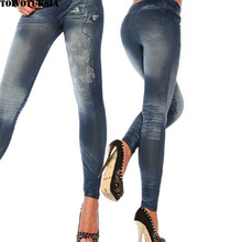 5508 Seamless Jeans Look Women Legging Strenchy Fitness Casual Butterfly Jeggings New Fashion Trend Solid Leggings Roupas
