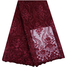 Wine Red African French Tulle Net Lace Fabric with Beads Fashion Nigerian Wedding African Lace Fabrics For Dress A914