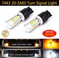 2X T20 7443 5730 20-SMD Dual Color White/Amber Switchback Turn Signal Lights Led Bulbs