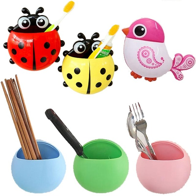 Hoomall Cartoon Toothbrush Holder Toothpaste Storage Racks Bathroom Suction Sucker Tooth Brush Container Cup Hanging Organizer