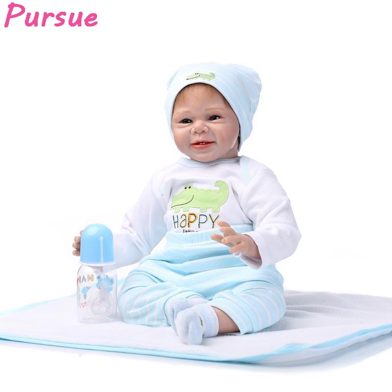 Pursue 22/55 cm Baby Real Life Sweet Baby Boy Newborn Doll Cuddle for Children Cloth Body Reborn Baby Dolls Gifts For Boy Girls