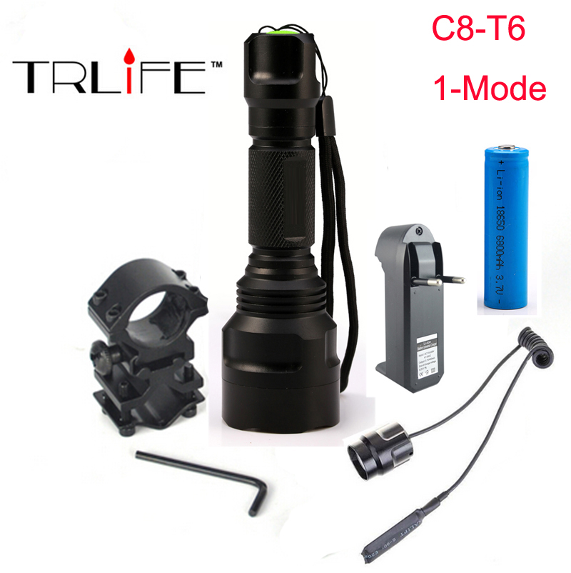 Hunting light C8 Tactical flashlight L2 T6 led 1-mode torch+18650 battery+Charger+Pressure Switch Mount Rifle Gun Light Lamp c8 q5 led hunting flashlight torch cree led red green blue light camping lamp 1 mode 18650 battery charger gun mount switch