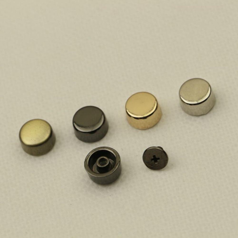 10Pcs 1cm Bag Bottom Stud Rivet Screw Cloth Shoe Bag Hardware Belt DIY Round Metal Replacement Bag Accessories Gold Silver Black