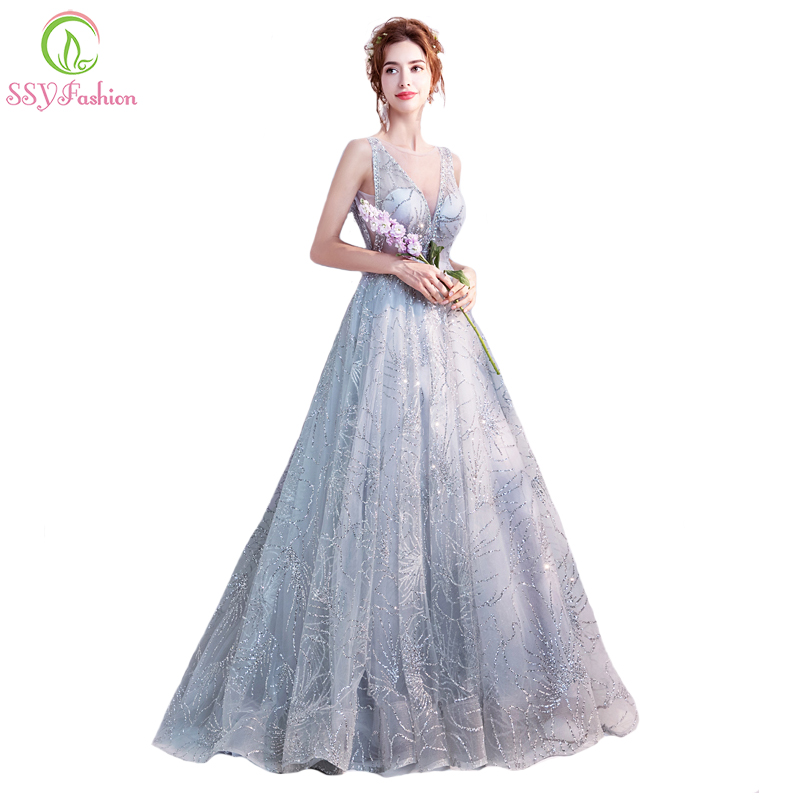 8094507cf1 US $85.0 |SSYFashion New Simple Silver Banquet Evening Dress Elegant V neck  Floor length Sequined Prom Party Formal Gown Robe De Soiree-in Evening ...