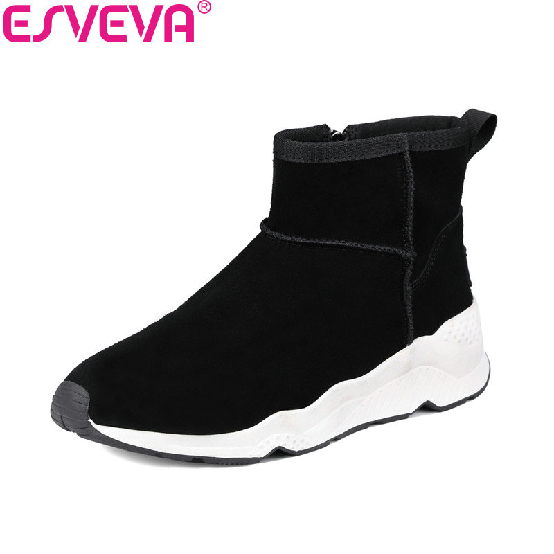 ESVEVA 2018 Women Boots Winter Shoes Wedges Med Heels Cow Leather + Scrub Ankle Boots Warm Ladies Zipper Snow Boots Size 34-39 esveva 2018 cow leather pu women boots autumn shoes ankle boots square high heels ladies motorcycle boots black size 34 39
