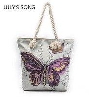 New Arrived Butterfly Printing Women Beach Bags Messenger Bag 2017 Canvas Big Literature Shoulder Bag Shopping
