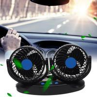 12V 24V Car Fan 360 Degree Rotatable Car Auto Air Cooling Dual Head Fan Dashboard Ventilation Car Auto Cooler Air Fan