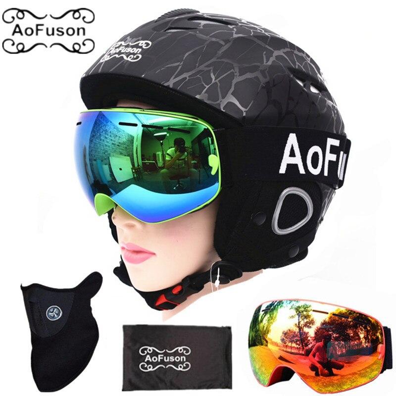 Ski Equipment Set Double Layers Anti fog Big Vision Snowboard Goggle Mask Women men Skiing Snowmobile