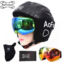 Ski Equipment Set Double Layers Anti fog Big Vision Snowboard Goggle Mask Women&men Skiing Snowmobile Winter Warm Ski Helmet
