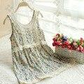 Tanques de verão estilo coreano rendas floral doce princesa bordado camisola mori menina camisa básica tanque das mulheres túnica top clothing