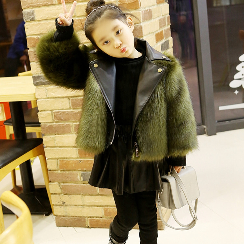 Fashion Girls Fur Coat 2017 Faux Leather Fox Fur Motorcycle Jackets Mother Daughter Clothes Kids Girls