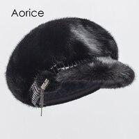 Aorice HF7046 De nieuwe vrouwen winter hoeden bontmuts echt nertsen Mao Chun kleur zwarte hoed mode houden warm