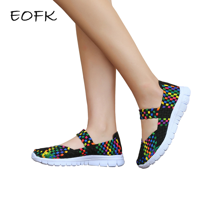 EOFK Women Woven Shoes Handmade Elastic Woven Flat slip on Nylon Gingham Shoes Woman handmade geometric woven sandal anklets