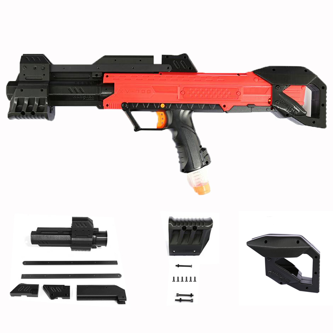 WORKER F10555 3D Printing Front Tube Pull-down Kit + Shoulder Stock for Nerf Rival Apollo XV-700 - Black садовая детская тяпка truper atj kid 10555