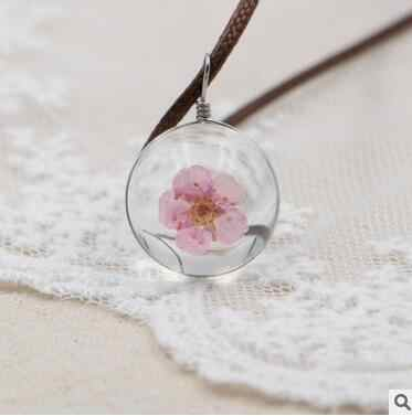 new Hot Fashion Crystal glass Ball Narcissus Necklace Long Strip Leather Chain Pendant Necklaces Women  Jewelry best gift