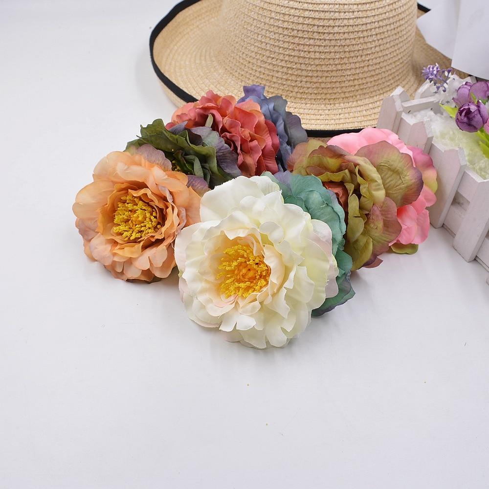 2pcs 9cm Artificial Flowers Silk Flower European Fall Vivid Peony