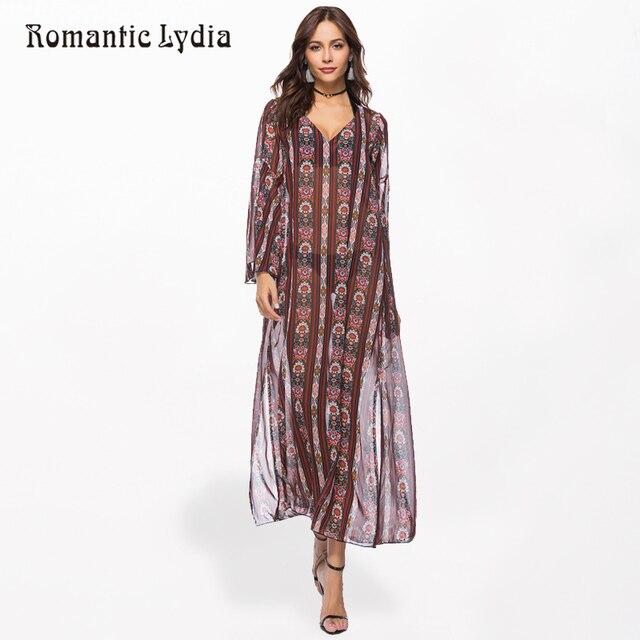 Women Fashion Boho Floral Chiffon Long Dresses Loose Sexy Split Bohemian Dress Beach Draped Robe Femme Plus Size 2018 Summer