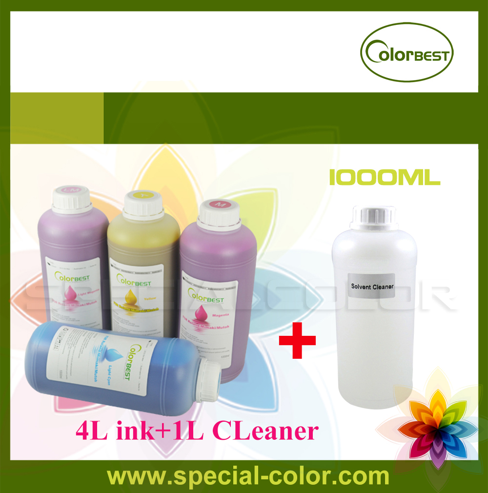 New Type 4 Liters Eco Solvent Ink + 1 Liter Solvent CLeaning Solution for Roland FJ540/740/RS640/Mimaki JV33/JV5/Witcolor,etc 4pcs printer ink pump for roland sp300 540 vp300 540 xc540 cj740 640 rs640 540 mimaki jv3 jv4 jv5 jv33 solvent ink printer