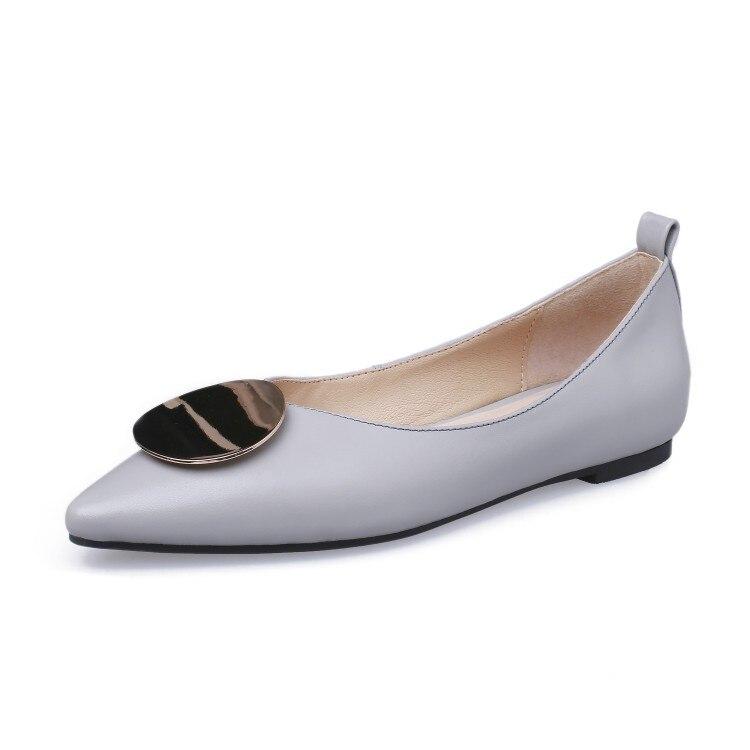 Suave Decoración De Black Otoño white Planos Fiesta Cómodos Color Casuales Vaca gray Metal 2019 Zapatos Primavera Y Blanco Mujeres Las Vestido Mljuese Cuero pIzq0R