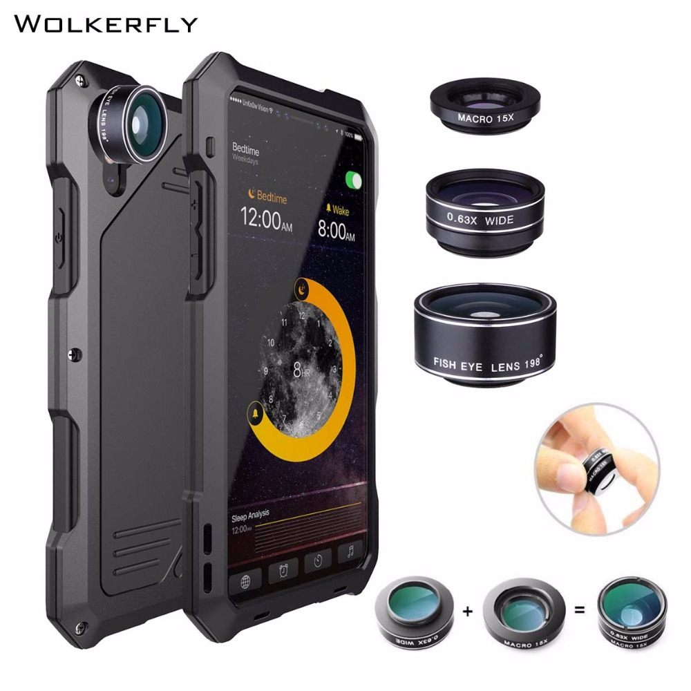 Wide angle Macro Lens Phone Cover for iPhone X for iPhone 7 8Plus 6 6sPlus Water Resistant Shockproof Case for iPHONE XS Max XR